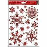 Samolepky vánoce na okna červené vločky 3.  motiv sněhový efekt 27x20
