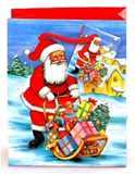 Taška vánoční 14x11x6 JEŽÍŠEK SE SANĚMI pevný lakovaný papír