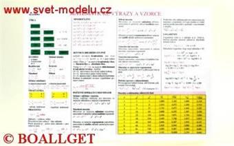 Tabulka Matematické výrazy a vzorce a Výpočet geometrických obrazců
