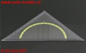 Trojúhelník 45/113  s úhloměrem a podbarvenou stupnicí