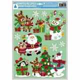 Samolepky vánoce na okna barevné dětské s glitry  42x30