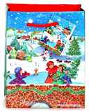 Taška vánoční 23x18x10 DĚTI V ZIMĚ pevný lakovaný papír