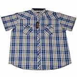 Pánská košile Kamro 23400/ 205 modro - bílo - béžová vel.  5XL - 7XL krátký rukáv