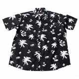 Pánská košile Kamro 23420/ 200 černá s obrázky bílých rostlin krátký rukáv 3XL - 8XL