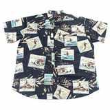 Pánská košile Kamro černá s obrázky vodních sportů krátký rukáv 5XL - 8XL