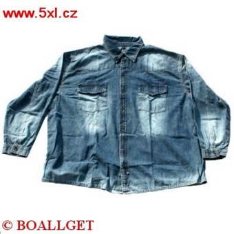 Pánská košile JEANS plísňová dlouhý rukáv modrá