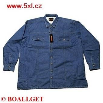 Pánská riflová bunda JEANS s kožíškem modrá 23355/102