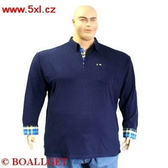 Pánské tričko s límečkem a košilovými rukávy tmavě modré - polokošile dlouhý rukáv  6XL - 10XL