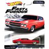 AUTÍČKO HOTWHEELS PREMIUM FAST & FURIOUS RYCHLE A ZBĚSILE 1/ 4 MILE MUSCLE CHEVROLET CHEVELLE SS 1970 RED