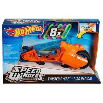 HOTWHEELS AUTÍČKO SPEED WINDERS TWISTED CYCLE GIRO RADICAL ORANGE WITH 8 RUBBER BANDS