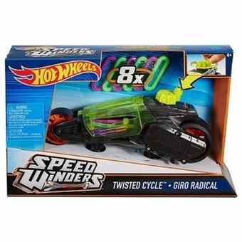 HOTWHEELS AUTÍČKO SPEED WINDERS TWISTED CYCLE GIRO RADICAL WITH 8 RUBBER BANDS