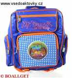 Batoh školní,  měkká záda,  výška 34cm,  šířka 33cm,  2 přední a 2 boční  venkovní kapsy