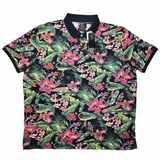 Pánská polokošile - tričko s límečkem s potiskem květin krátký rukáv 5XL - 8XL