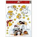 Samolepky vánoce na okna Čerti na peci  33, 5x26