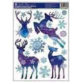 Samolepky vánoce na okna Sobi modré s glitry 37x29